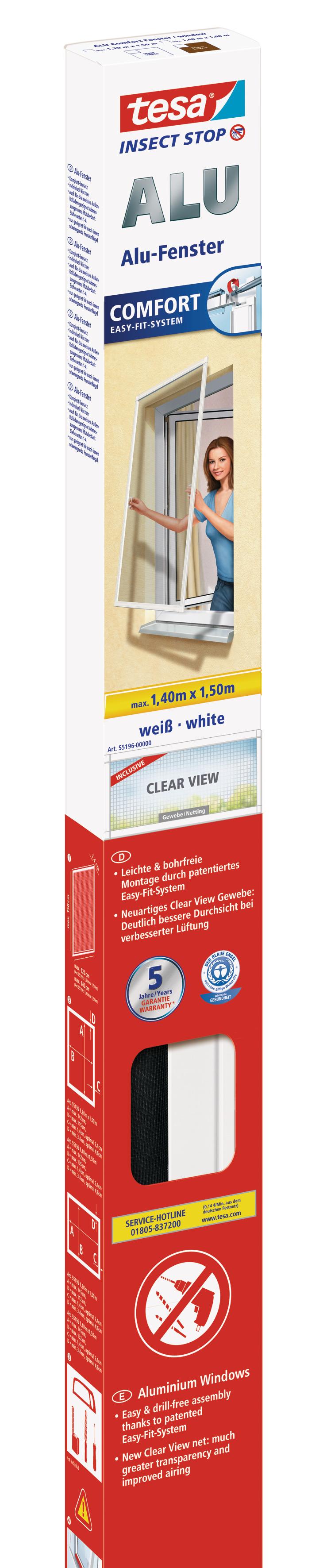 tesa Fliegengitter ALU Comfort Fenster 1,5 m : 1,5 m weiß