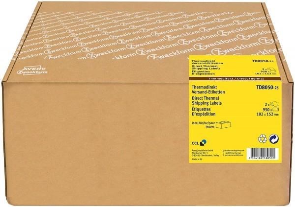 AVERY Zweckform TD8050-25 Thermodirekt Versandetiketten (102x152 mm, 950 selbstklebende Paketaufkleb