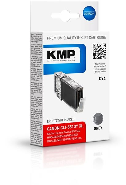 KMP Patrone C94 für Canon CLI-551GY XL Pixma MG6350 MG7150 grau