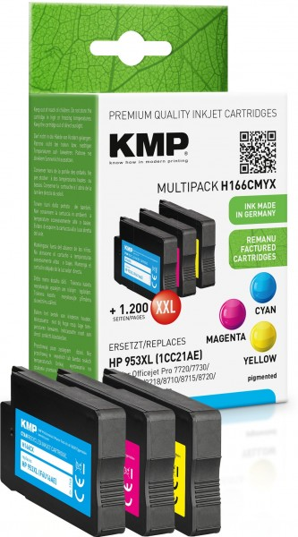 KMP Multipack H166CMYX cyan, magenta, gelb Tintenpatronen ersetzen HP OfficeJet Pro HP953XL (1CC21AE