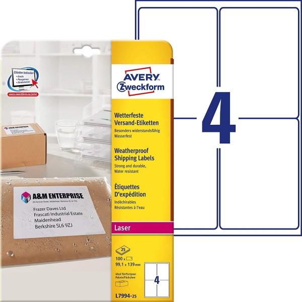 AVERY Zweckform L7994-25 Versand-Etiketten (A4, 100 Stück, 99,1 x 139 mm, 25 Blatt) weiß