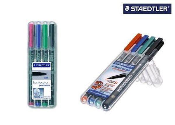 Staedtler® Feinschreiber Universalstift Lumocolor permanent, M, Box mit 4 Farben