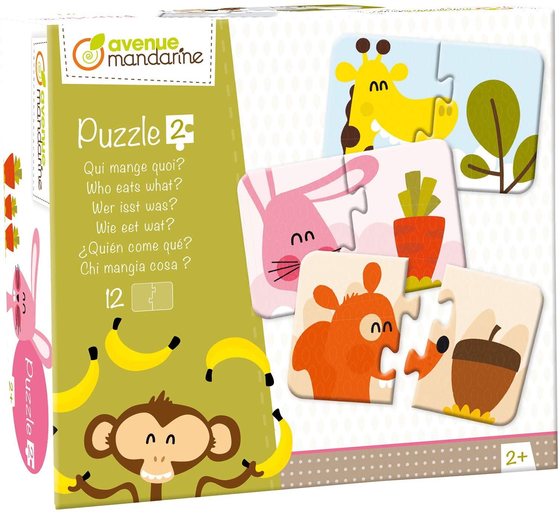 Avenue Mandarine JE519C - Puzzles Set, mit 12 Puzzles 2-teilig, praktisch, spielerisch und farbenfro