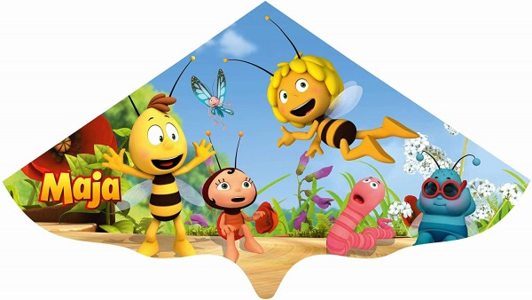 Paul Günther 1197 - Kinderdrachen mit Biene Maja Motiv, Einleinerdrachen aus robuster PE-Folie für K