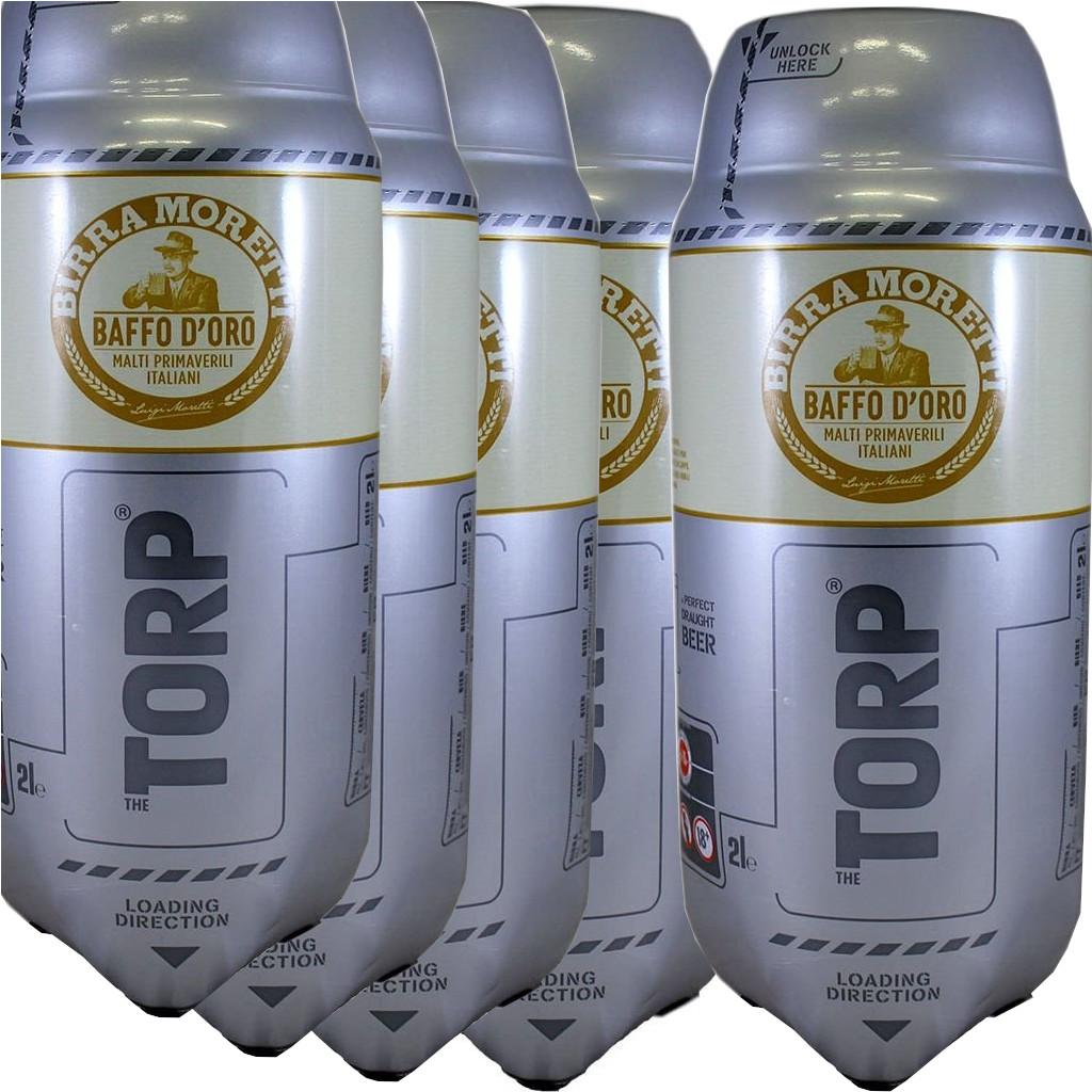 (4,90 €/L) Moretti Baffo d'oro TORP 5 x 2L Packung - Bierfass kompatibel mit der Bierzapfanlage THE