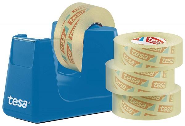 tesa Easy Cut Smart Tischabroller (Klebefilmabroller, mit Stop-Pad für sicheren Stand, mit 4 Rollen