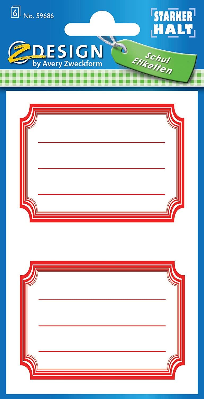 AVERY Zweckform 59686 Schuletiketten 12 Stück (Papier-Aufkleber für Mädchen und Jungen, roter Rand,s