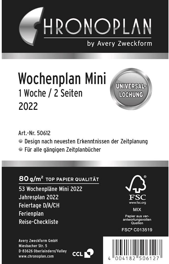 Chronoplan 50612 Kalendereinlage 2022, Wochenplan im Mini Format (79x125mm), Tage in Zeilen, Ersatzk