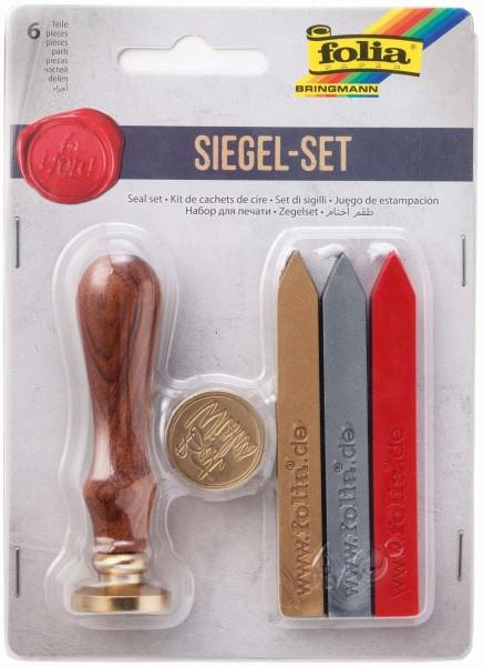 folia 31019 - Siegel Set mit zwei Siegelmotiven, einem Holzgriff und Siegelwachs in 3 Farben, zum st