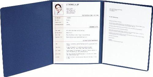 5 x EXACOMPTA Premium Bewerbungsmappe Blau mit Leinen-Optik