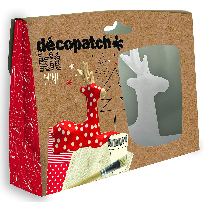 Décopatch Bastel Set Pappmaché Mini Rentier (ideal für Weihnachten u. Kinder, 19 x 13,5 x 3,5 cm) ro