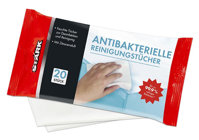 STARK 40079 Antibakterielle Reinigungstücher mit Zitronendurft 20 Stück