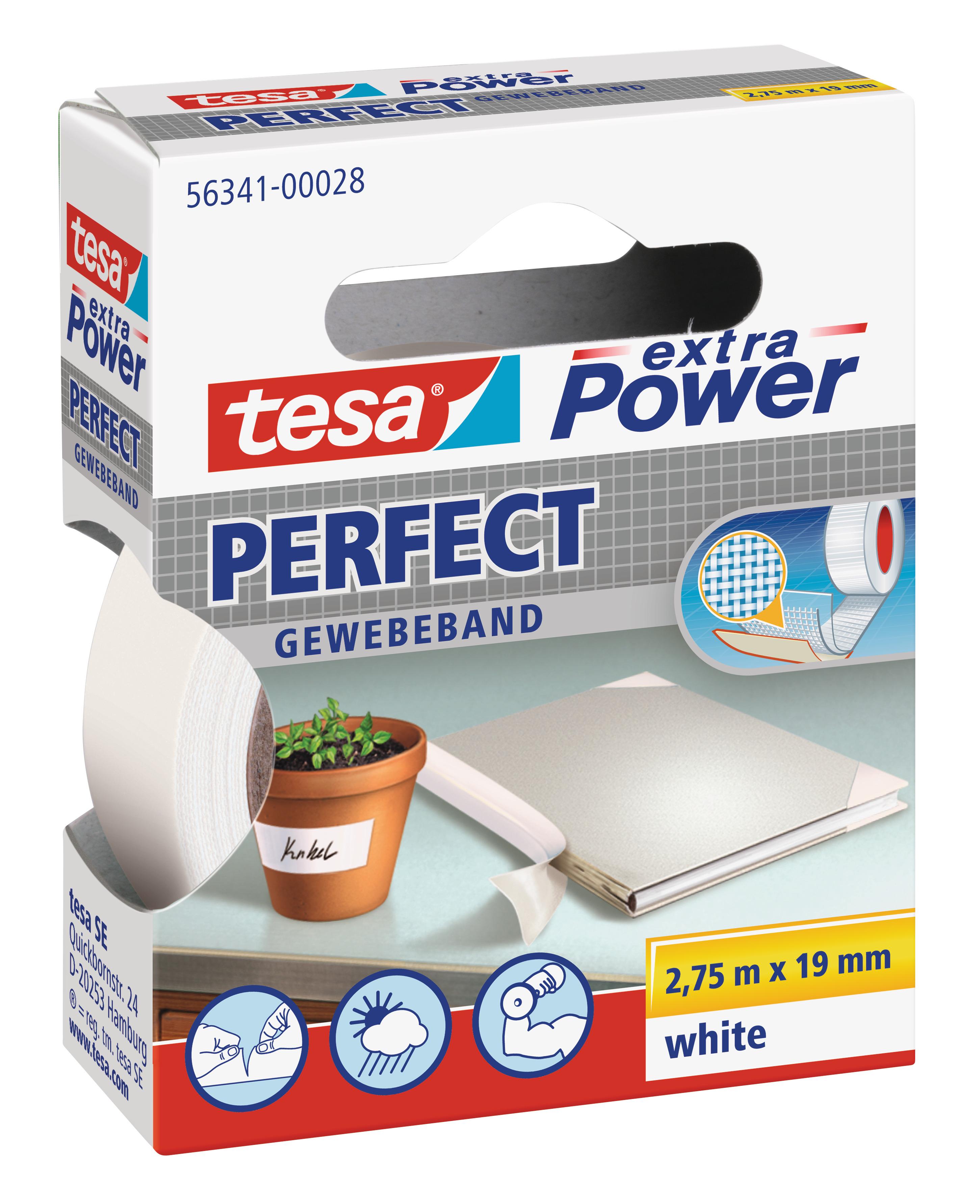 Vorschau: GP: 0,72 EUR/m tesa extra Power Perfect Gewebeband weiß 2,75m x 19mm
