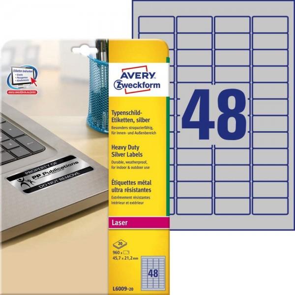 AVERY Zweckform L6009-20 Typenschild Folienetiketten (45,7x21,2 mm auf DIN A4, extrem stark selbstkl
