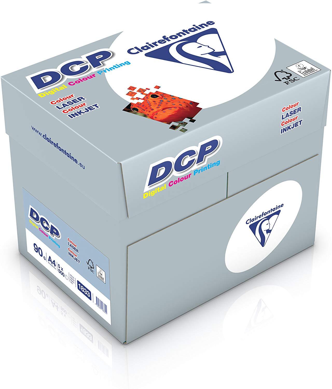 Clairefontaine Druckerpapier DCP in Weiß / 5 x 500 Blatt in DIN A4 mit 90 Gramm / Blickdichtes Premi