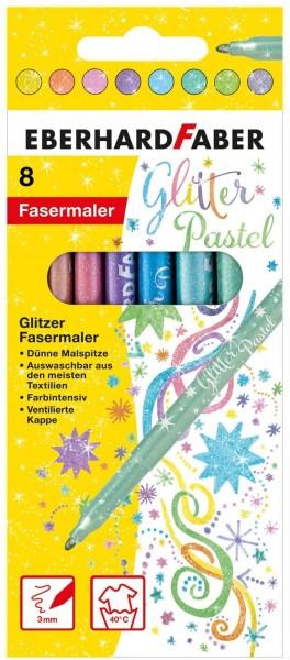 Eberhard Faber 551009 - Glitzer Fasermaler in Pastell Farben im Kartonetui, 8er, bunt