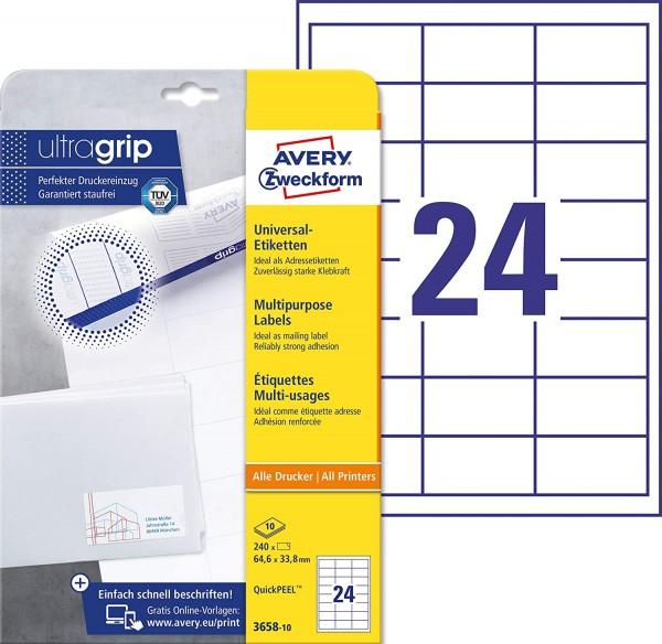 AVERY Zweckform 3658-10 Adressaufkleber (mit ultragrip, 64,6 x 33,8 mm auf DIN A4, Papier matt, bed