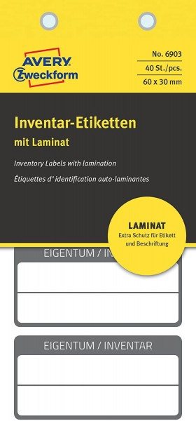 AVERY Zweckform 6903 laminierte Inventaretiketten (extrem stark selbstklebend, Kleinformat, 60x30 mm