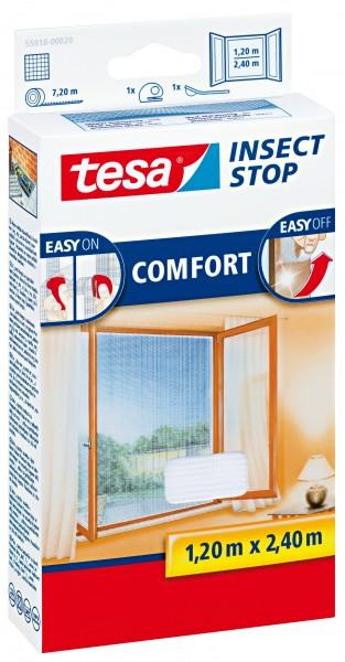 tesa Fliegengitter Comfort Klettband für bodentiefe Fenster 1,2 m : 2,4 m, weiß