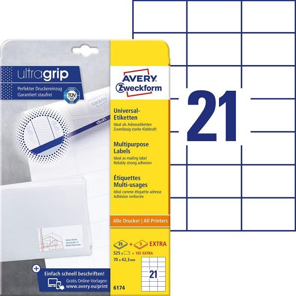 AVERY Zweckform 6174 Adressaufkleber (525 plus 105 Klebeetiketten extra, 70x42,3mm auf A4, Papier ma