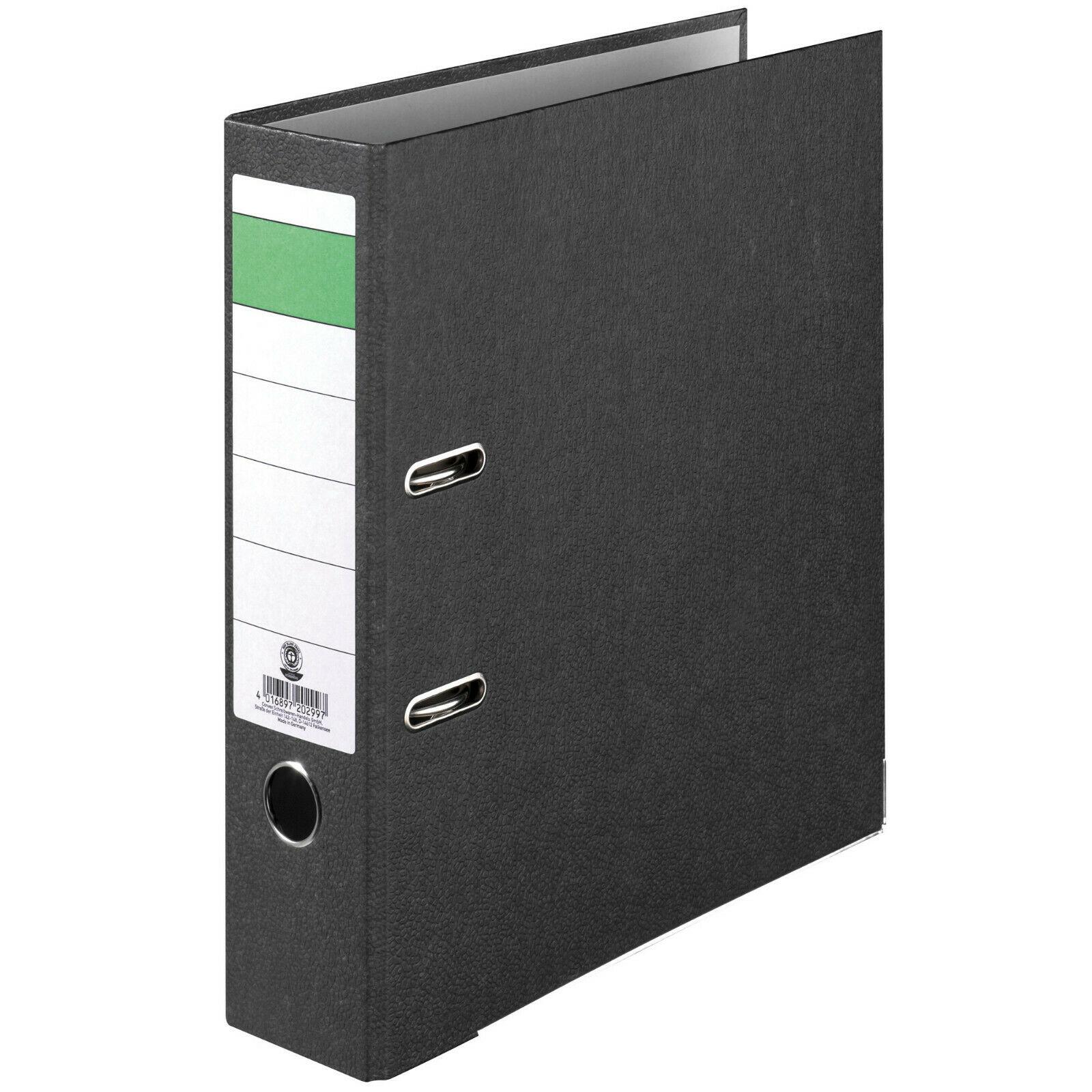Ordner Economy DIN-A4, 8cm Wolkenmarmorbezug schwarz Aktenordner Briefordner