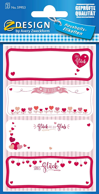 AVERY Zweckform 59953 Haushaltsetiketten selbstklebend 8 Aufkleber Herzen (Marmeladenetiketten zum B