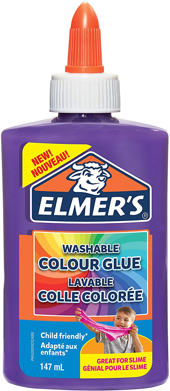 Elmer's farbiger PVA-Kleber | lila | 147 ml | auswaschbar | ideal zur Herstellung von Schleim | 1 St