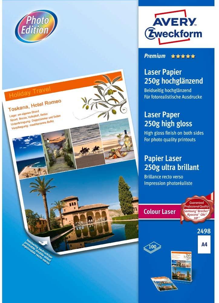 AVERY Zweckform 2498 Premium Colour Laser Papier (A4, beidseitig beschichtet, hochglänzend, 250 g/m²
