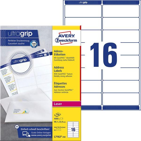 AVERY Zweckform L7162-250 Adressetiketten/Adressaufkleber (1.600 Etiketten mit ultragrip, 99,1x33,9m