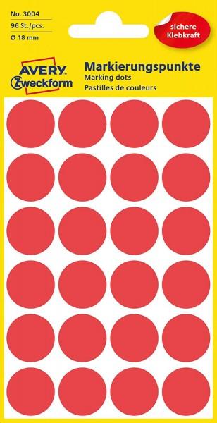 AVERY Zweckform 3004 selbstklebende Markierungspunkte 96 Stück (Ø18mm, Klebepunkte auf 4 Bogen, Punk