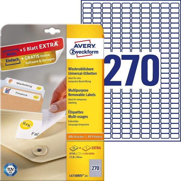 AVERY Zweckform L4730REV-25 Universal Etiketten (6.750 plus 1.350 Klebeetiketten extra, 17,8x10mm au