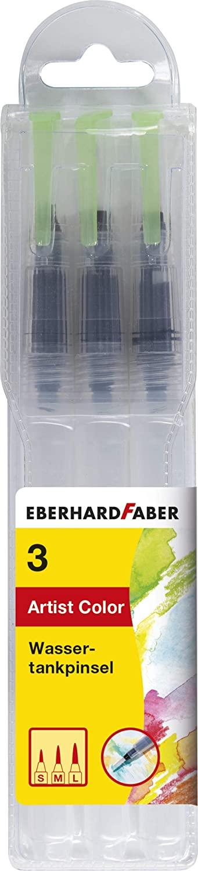 Eberhard Faber 579925 - Wassertankpinsel, 3 Stück mit verschiedenen Pinselspitzen, Wassertank mit 7,