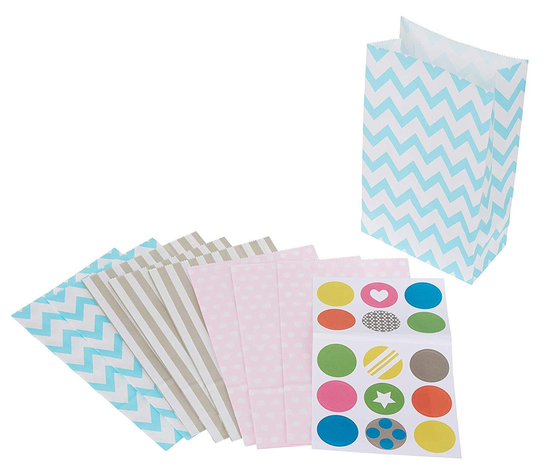 Folia 41209 Papiertüten BASIC lebensmittelecht, 120 x 60 x 210 mm, mit Motiven, sortiert
