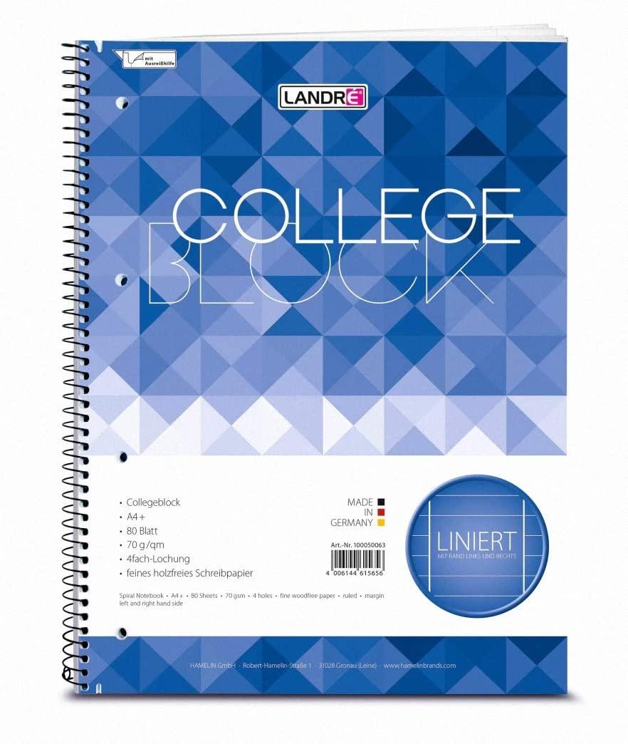 LANDRE 412416027 Notizblock Spiral-Buch College 1 Stück A4 160 Blatt liniert 70 g/m²