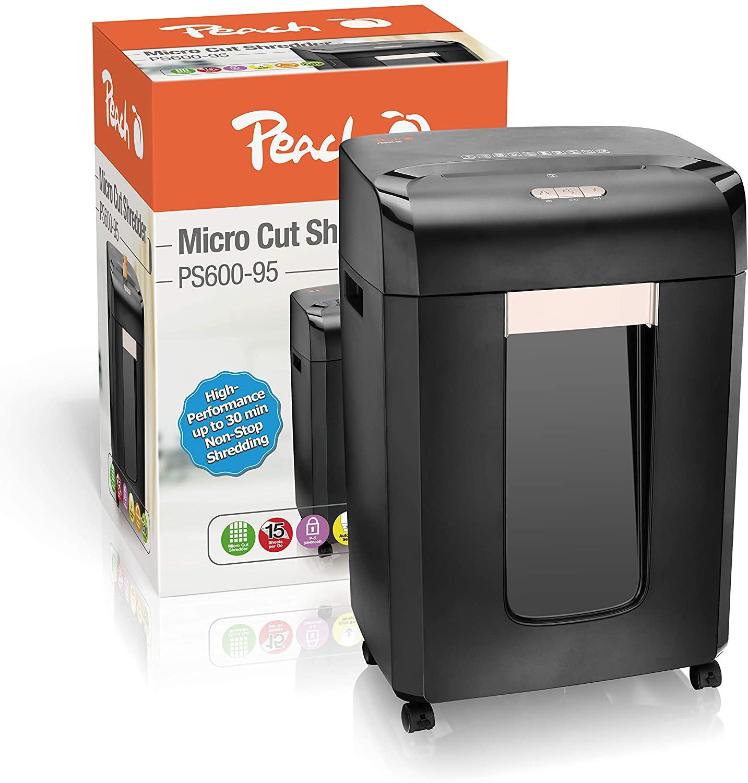 Peach PS600-85 Mikroschnitt Aktenvernichter   12 Blatt   23 Liter/420 DIN A4   2 x 15 mm Partikelgrö