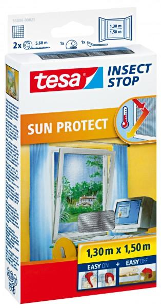 tesa Fliegengitter Comfort Klettband für Fenster, mit Sonnenschutz, anthrazit / metallic