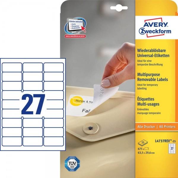 AVERY Zweckform L4737REV-25 Universal Etiketten (675 plus 135 Klebeetiketten extra, 63,5x29,6mm auf