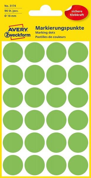 AVERY Zweckform 3174 selbstklebende Markierungspunkte (Ø 18 mm, 96 Klebepunkte auf 4 Bogen, runde Au