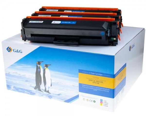 G&G Image XL-Toner kompatibel zu HP 410X/ CF252XM -Kombipack- cyan, magenta, gelb