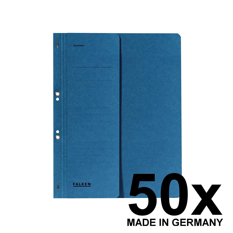 50x Falken Ösenhefter 8003809 DIN-A4, 1/2 Vorderdeckel, 250g/m² Karton, kfm. Heftung BLAU