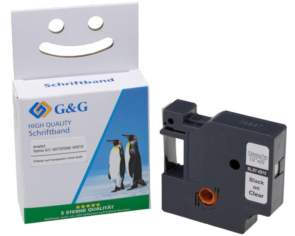 G&G Schriftband kompatibel zu Dymo D1/ 45010/ S0720500 (12mm x 7m) schwarz auf transparent