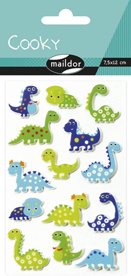 Maildor CY006O DINO Packung mit Stickers Cooky 3D (1 Bogen, 7,5 x 12 cm, ideal zum Dekorieren, Samme