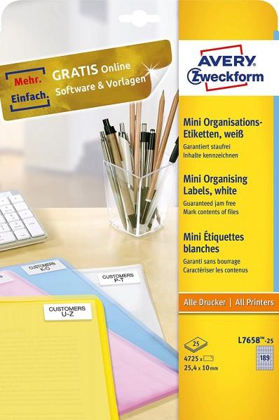 AVERY Zweckform L7658-25 Mini-Organisations-Etiketten (4.750 Stück, 25,4 x 10 mm, 25 Blatt) weiß