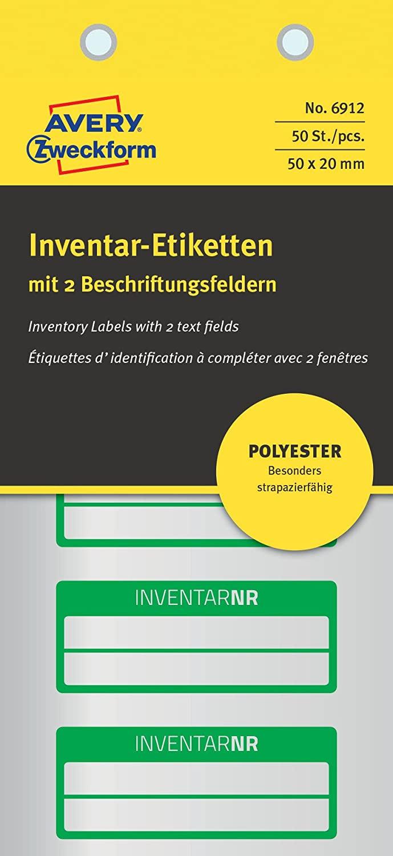 AVERY Zweckform 6912 Polyester Inventaretiketten (stark selbstklebend, strapazierbar, Kleinformat, 5