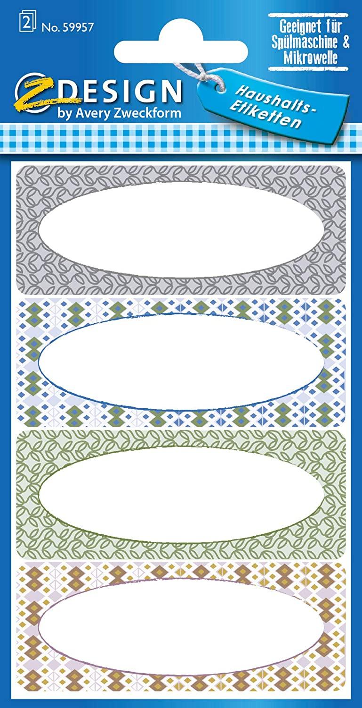 AVERY Zweckform 59957 Haushaltsetiketten selbstklebend 8 Aufkleber Retro (Marmeladenetiketten zum Be