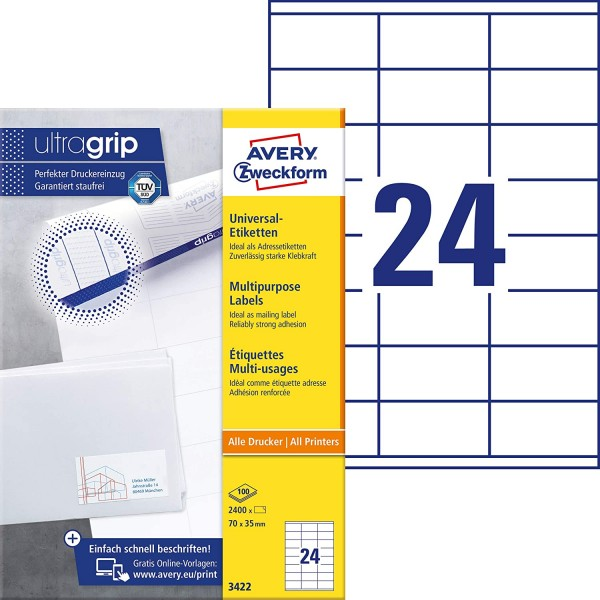 AVERY Zweckform 3422 Adressaufkleber (2.400 Klebeetiketten, 70x35mm auf A4, Papier matt, bedruckbare