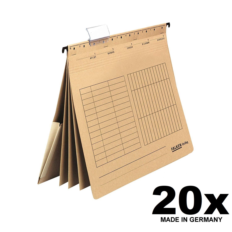 20x Falken Personalhefter UniReg, 80002363, 230 g/qm Karton, DIN-A4, 4 Fächer, natronbraun