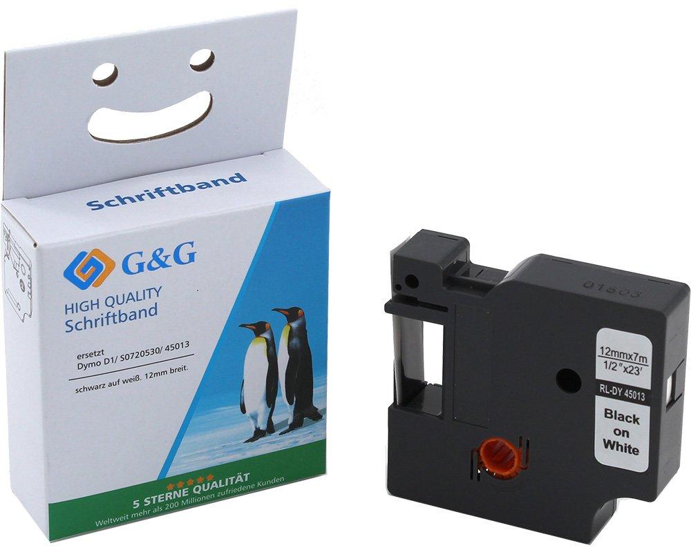 G&G Schriftband kompatibel zu Dymo D1/ 45013/ S0720530 (12mm x 7m) schwarz auf weiß