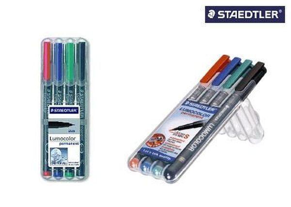 Staedtler® Feinschreiber Universalstift Lumocolor permanent, B, Box mit 4 Farben