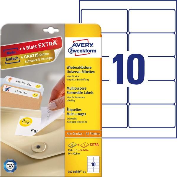 AVERY Zweckform L4744REV-25 Universal Etiketten (250 plus 50 Klebeetiketten extra, 96x50,8mm auf A4,